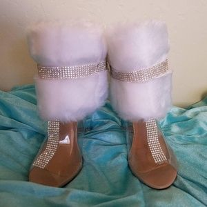 Ice Princess White Faux Mink Crystal Clear Booties